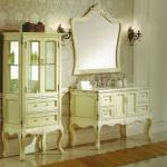 #WST249 elegant ivory antique baroque solid wood marble top bathroom vanity base cabinet with baroque mirror-WST249 solid wood antique bathroom cabinet