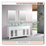 2014 classic double sinks bathroom vanity with glass basin-T9120C