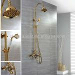 Wall Mount Golden Finish Brass Rainfall Shower Faucet Sets-QH9002G