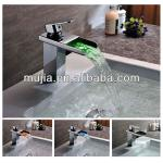 UK High power LED brass waterfall baisn single taps faucet chrome tap faucet hydro power led faucet LS16-LS16