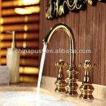 golden fashional items double handles basin faucet-GH8147A