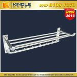 Customized wall-mounted bathroom towel shelf with hooks for hanging-K-T-004