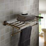 Antique Brass Wall-mounted Double Bathroom Towel Shelf With Towel Bar BA2003-BA2003