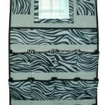 Foldable Zebra-stripe pattern Non-woven fabric hanging wall pocket storage organizer with mirror(Sticker nickel plating corns)-YM60065