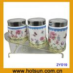 3 pcs flat-top sealed can flotal print ceramic product 2Y019-2Y019