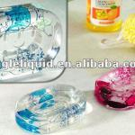 acrylic plastic colorful fluid floaters inside custom flower liquid shower soap holder-