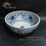 Oriental Hand Painted Blue White Ceramic Porcelain Wash Basin Bowl For Hotel-basin-11