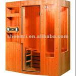 luxury wood with medical stone fir Far Infrared Sauna Room for 4 persons-S097