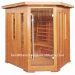 4 Person Hemlock & Ceramic Heater Corner Sauna-HL-400 IC