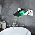 2013 unique design brass new design chrome wall mounted waterfall led bathroom faucet-LSW02