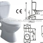 Popular economic ceramic X-trap two piece toilet bowl-HTT-1002