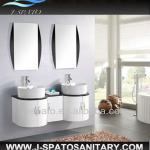 Double basin modern PVC and MDF bathroom cabinet with high glossy painting