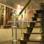 High Building Crystal Stair Railing Decorative Glass Pillar