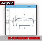 HY-2013 Aluminium Balcony Handrail Components E151 Aluminium Railings For Balconies