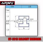 HY-2013 Aluminium Balcony Handrail Components E186 Balcony Railing Material