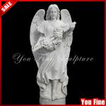 Angel statue decoration white marble tombstone-YF-S-19